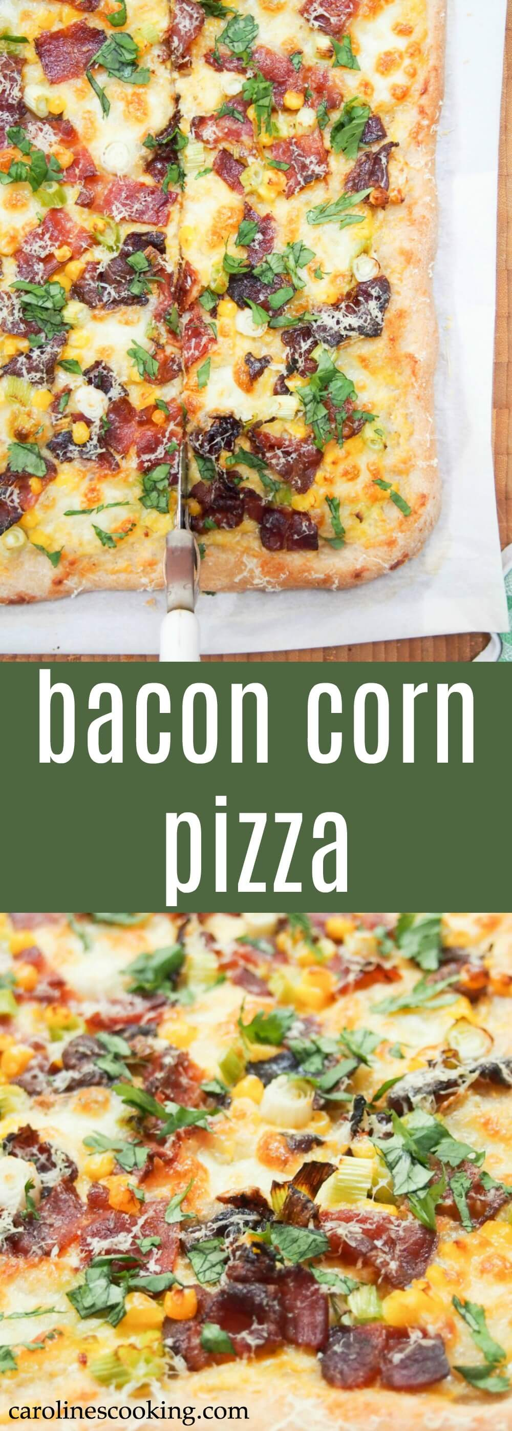 This bacon corn pizza has a double doze of corn for a less than typical but incredibly delicious slice. It's a flavorful sweet-salty mix that's addictively good.