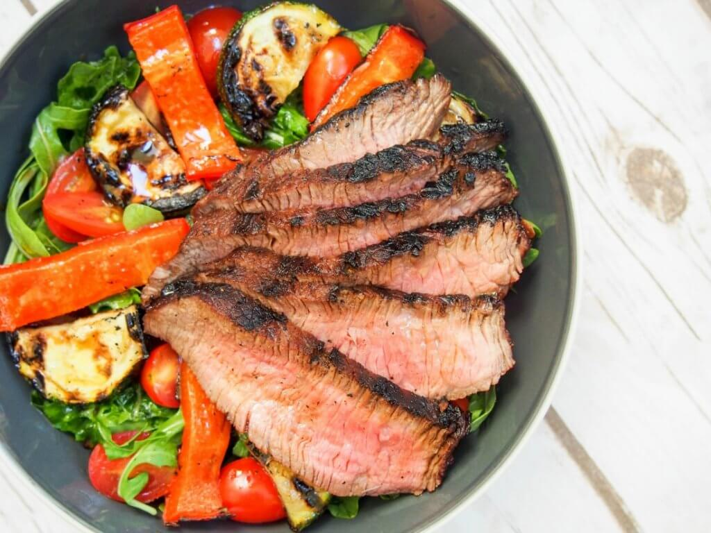 Maple-soy marinated steak salad