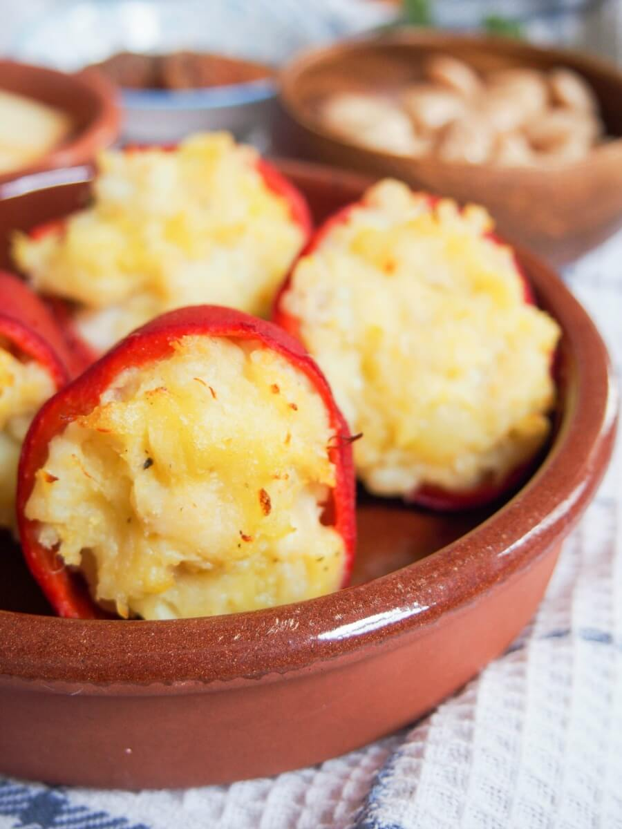Salt cod stuffed piquillo peppers