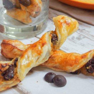 Chocolate pumpkin pastry twists