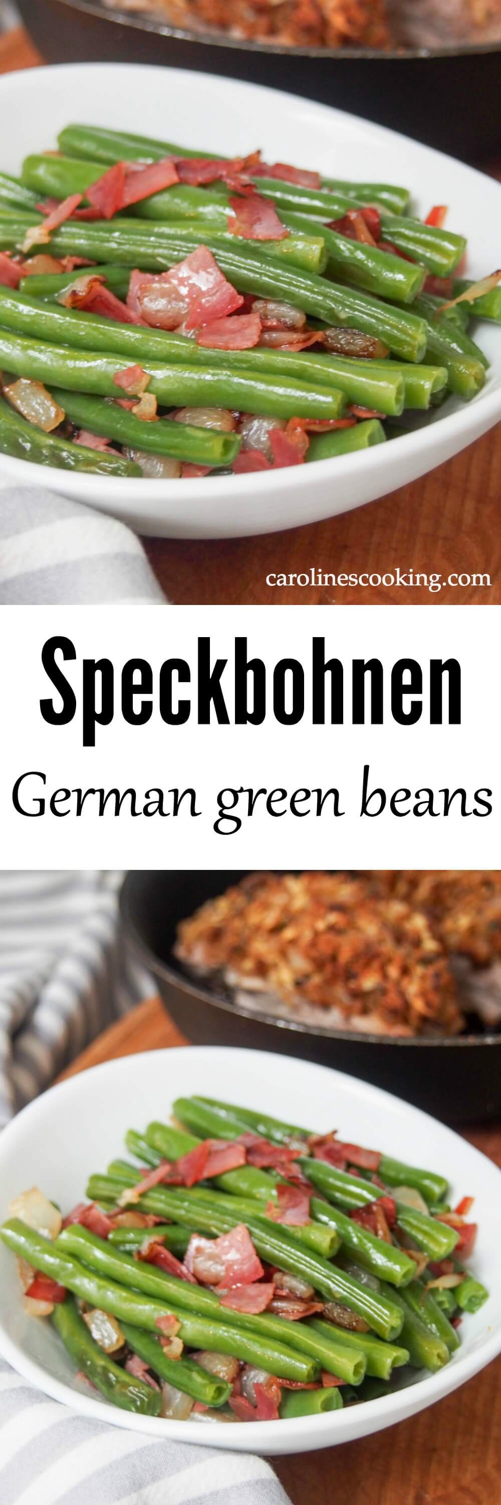 You'd be surprised a couple simple additions brighten up plain beans, but that's exactly the case with these speckbohnen, German green beans. A tasty side.