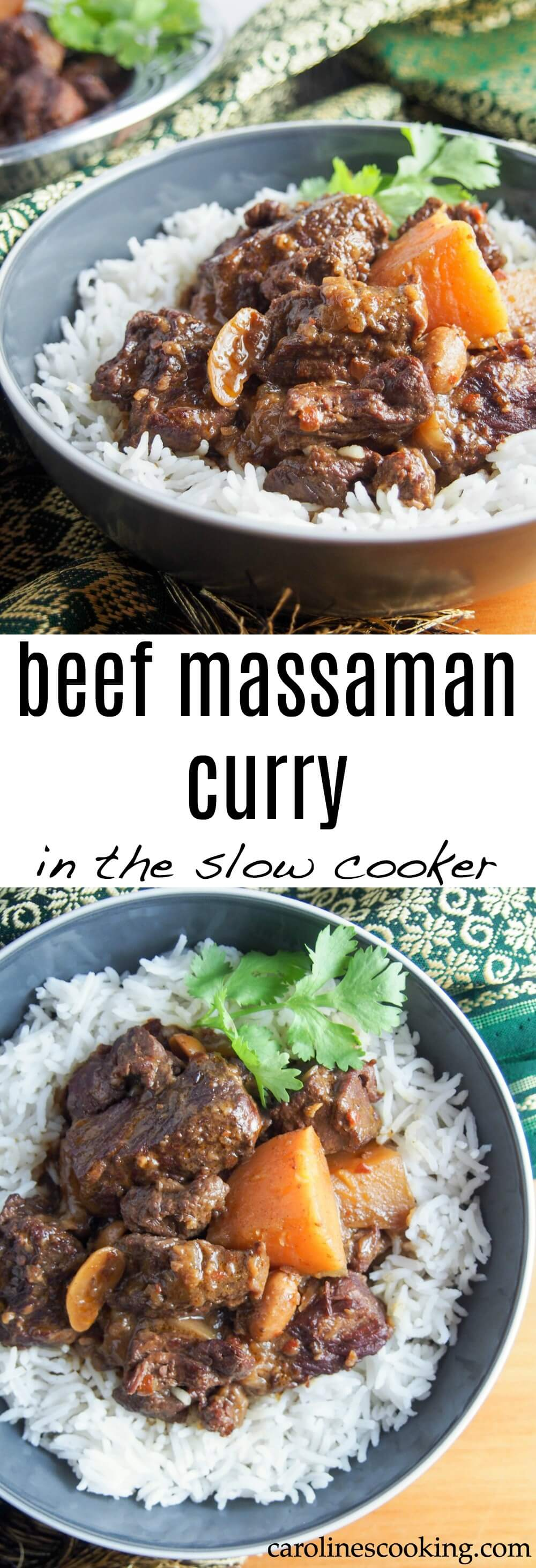 This beef massaman curry may not have the spicy heat of some other curries, but it is packed with fabulously aromatic flavors. The slow cooked beef is meltingly tender in this delicious meal. #slowcooker #beef #thaifood