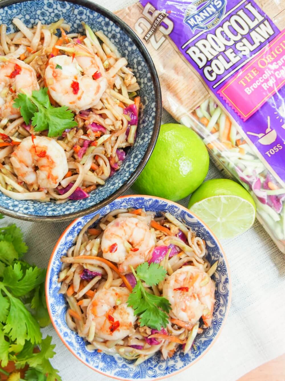 easy pad Thai recipe with Mann's slaw