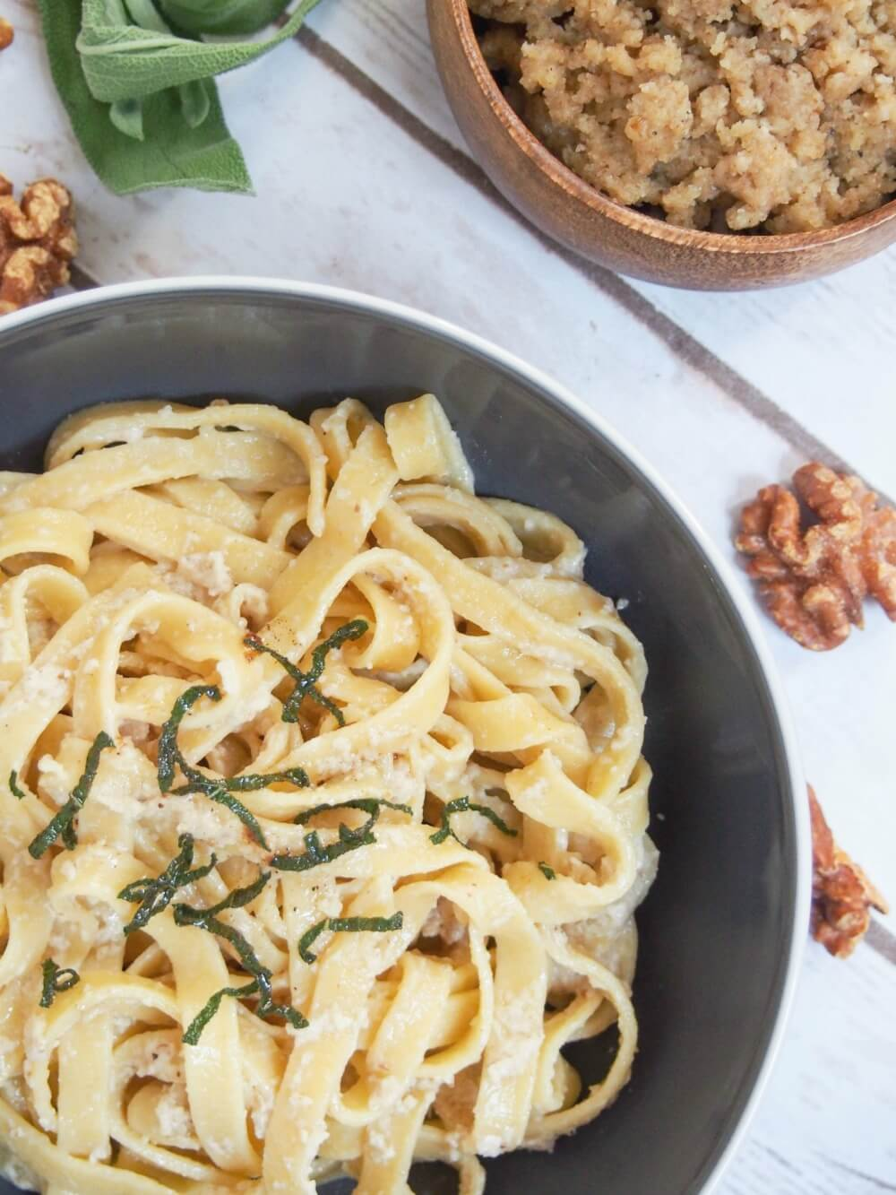 pumpkin pasta - homemade pasta with real pumpkin in the dough - here served with walnut sauce