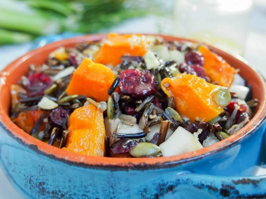 Butternut squash wild rice salad with cranberries and fennel #Cranberryweek