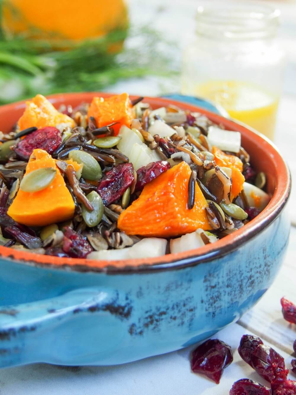 Easy to make, colorful and flavorful, this butternut squash wild rice salad would be perfect for a potluck, on a Holiday table or in your lunch box.