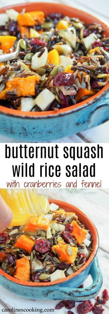 Easy to make, colorful and flavorful, this butternut squash wild rice salad with cranberries and fennel would be perfect for a potluck, on a Holiday table or in your lunch box. It's perfect for making ahead, not too heavy but filling. #potluck #salad #thanksgiving #vegetarian #wildrice