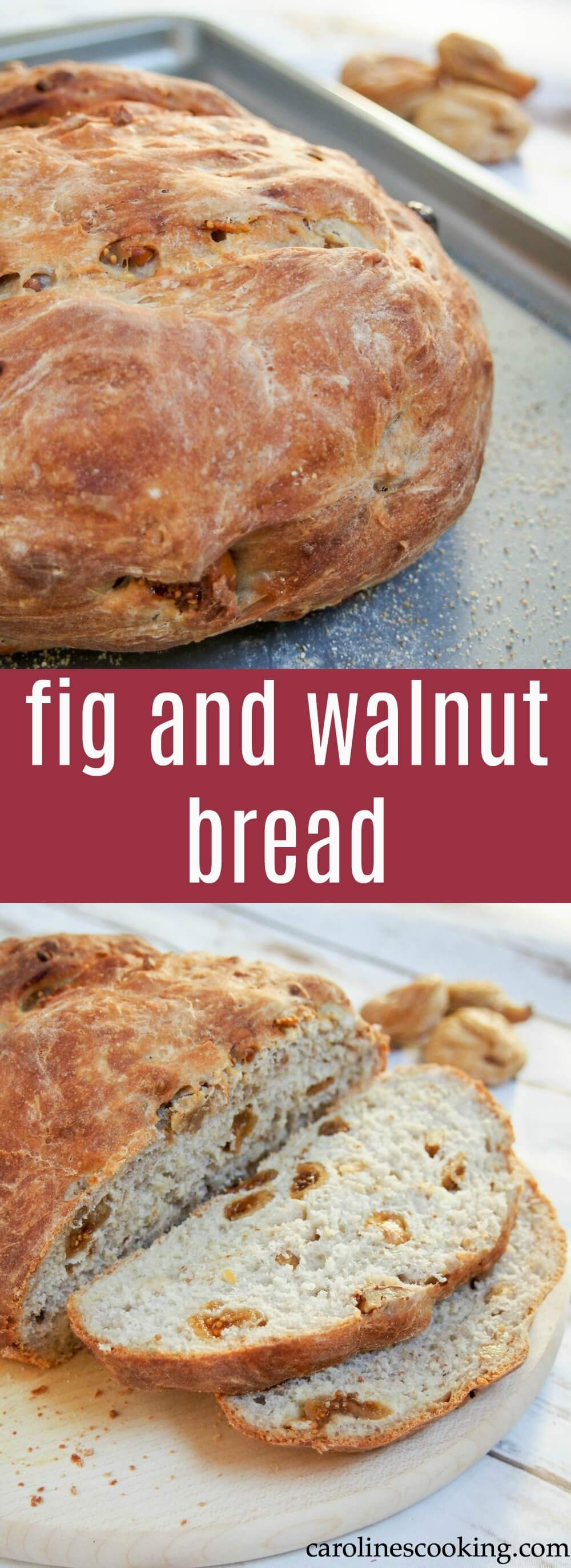 This fig and walnut bread is a tasty white loaf with a twist. It's easy to make and the fruity and nutty bites make it into a slightly special everyday bread. #bread #homemadebread