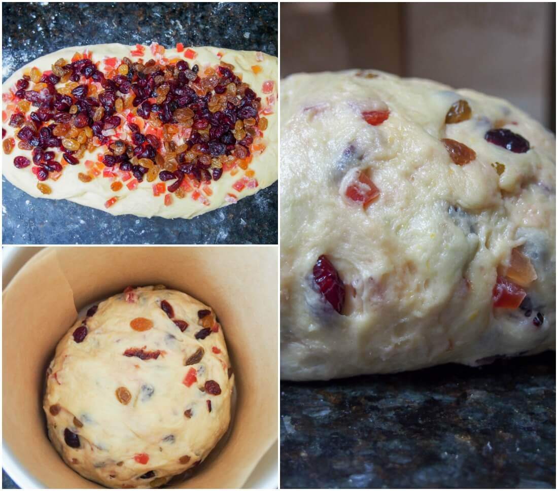 making panettone mixing in fruit and second rise