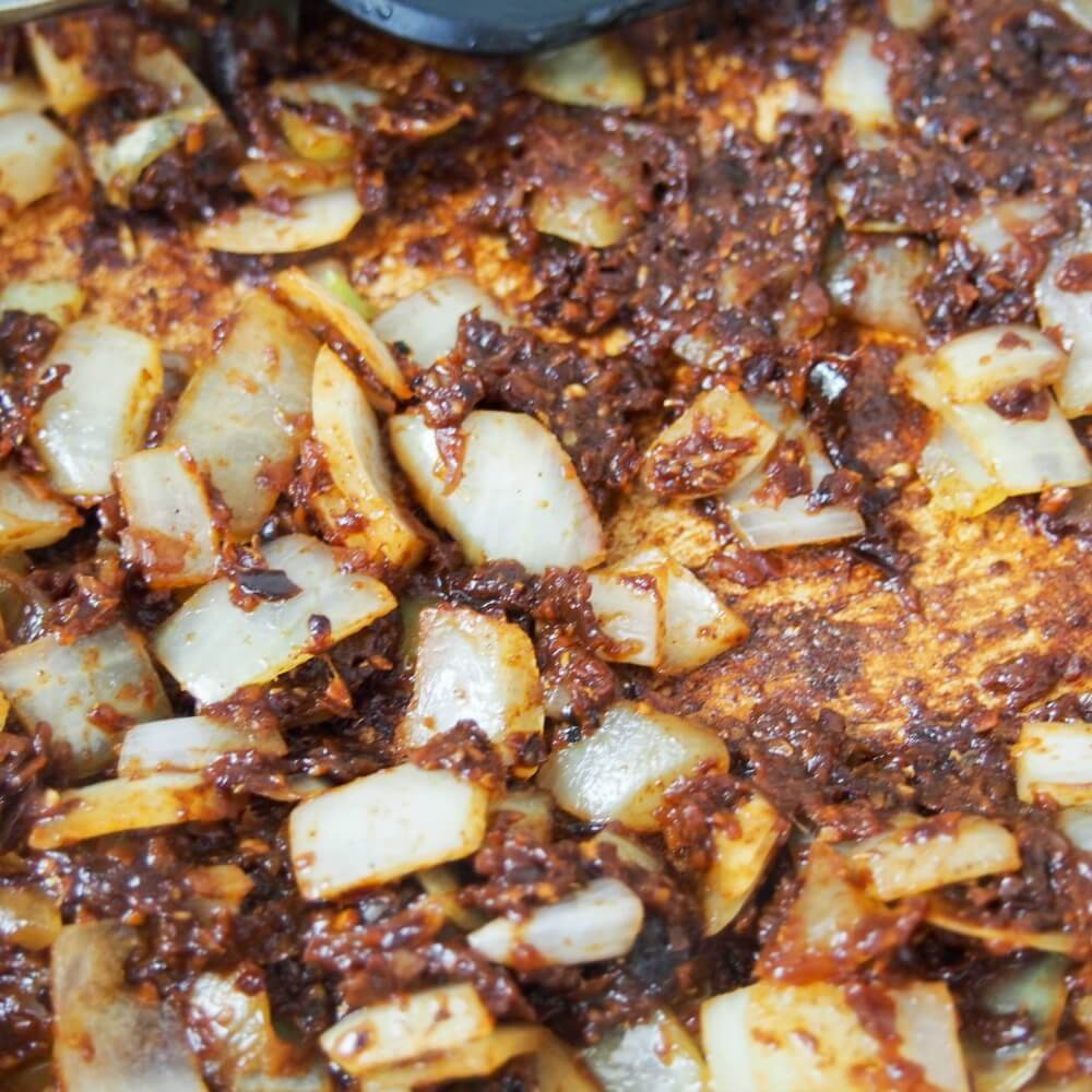 onions and paste for Beef massaman curry (slow cooker)