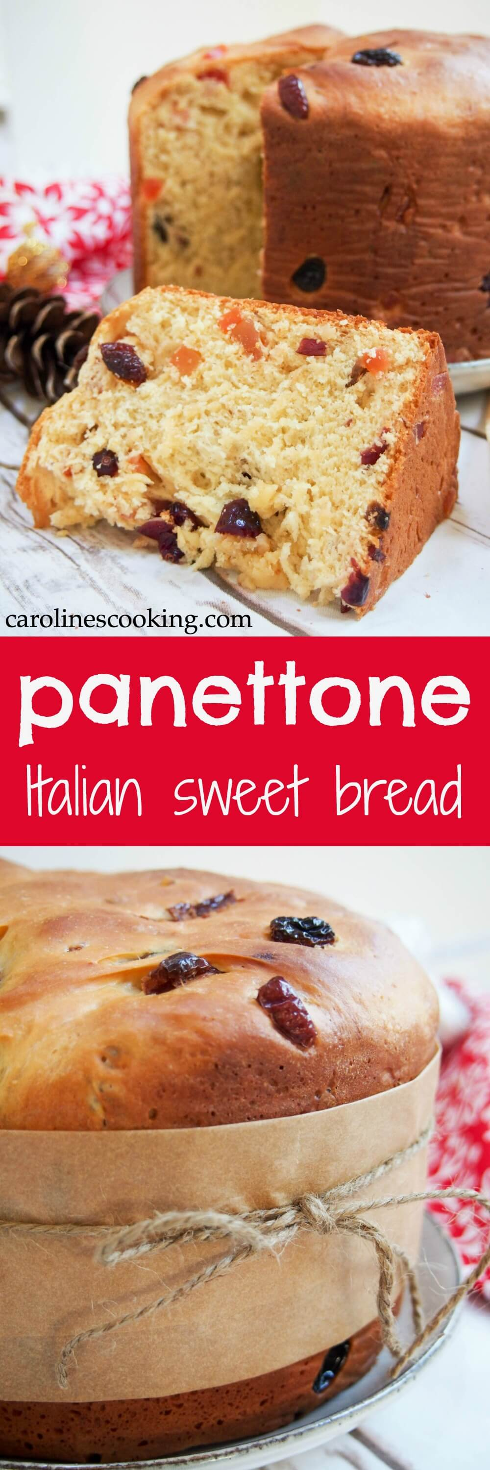 Panettone is a slightly sweet Italian bread, studded with fruit, that's common over the Holiday season both for gifting and serving guests. But really, it's so delicious you'll want to find any excuse. #Christmas #bread #Italianfood