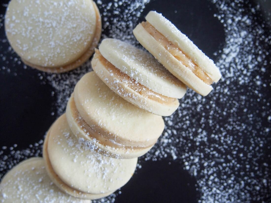 Alfajores dulce de leche sandwich cookies