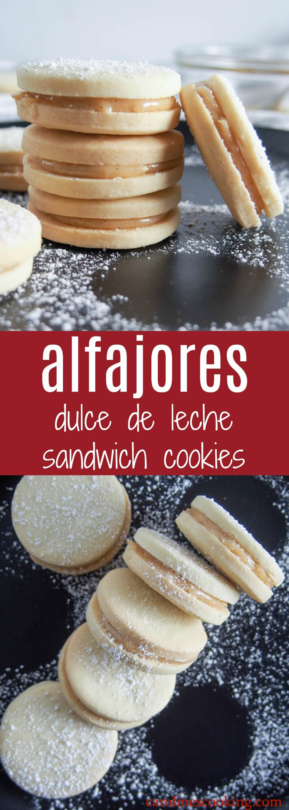 Alfajores (dulce de leche sandwich cookies) - Crumbly, tender cookies sandwiched together with dulce de leche - alfajores are the kind of cookies that almost anyone will be tempted by. Welcome to your next cookie plate must-have. #cookie #dulcedeleche