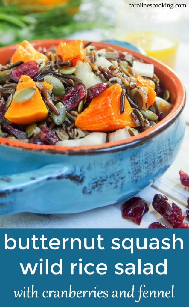 Easy to make, colorful and flavorful, this butternut squash wild rice salad with cranberries and fennel would be perfect for a potluck, on a Holiday table or in your lunch box. It's perfect for making ahead, not too heavy but filling enough to make a light meal. So many possibilities to enjoy! #potluck #salad #thanksgiving #vegetarian #wildrice