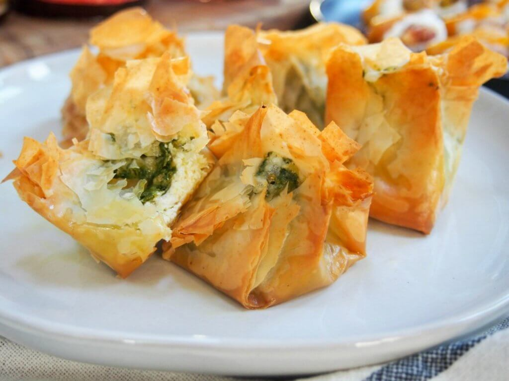 Pesto goats cheese filo parcels #SundaySupper