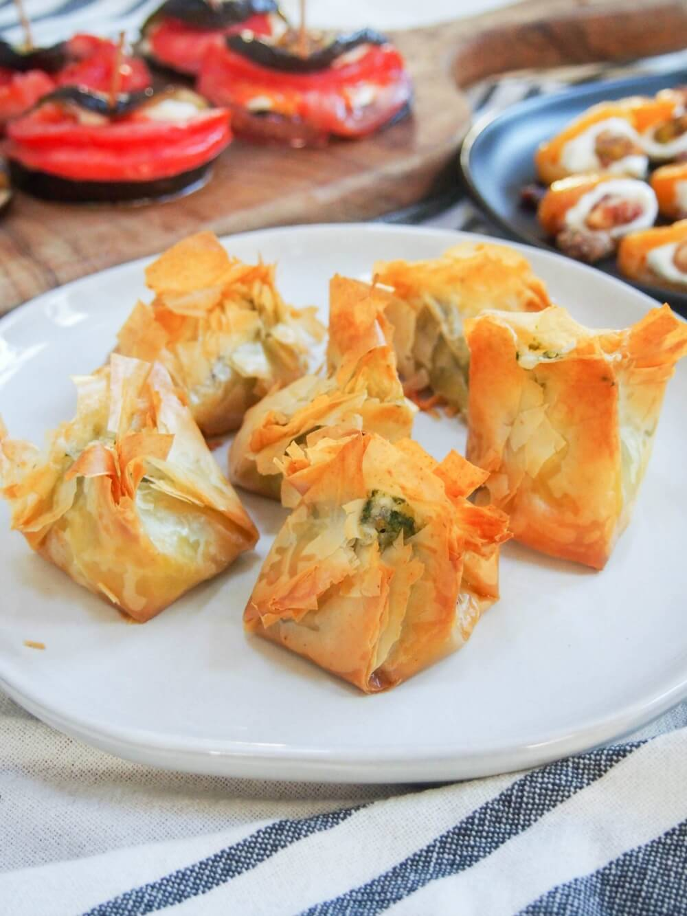 Pesto goats cheese filo parcels