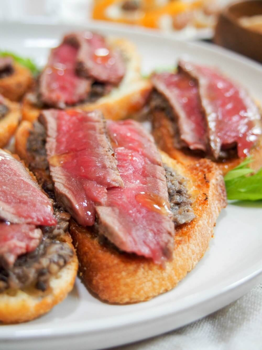 Steak crostini with mushroom pate and truffle oil: If you're looking for an easy but impressive appetizer, look no further than this steak crostini. It's a delicious combination and the truffle oil drizzle really takes it over the top. You can also prepare most of it in advance, with a quick finish. Perfect for entertaining, New Year's parties and more.