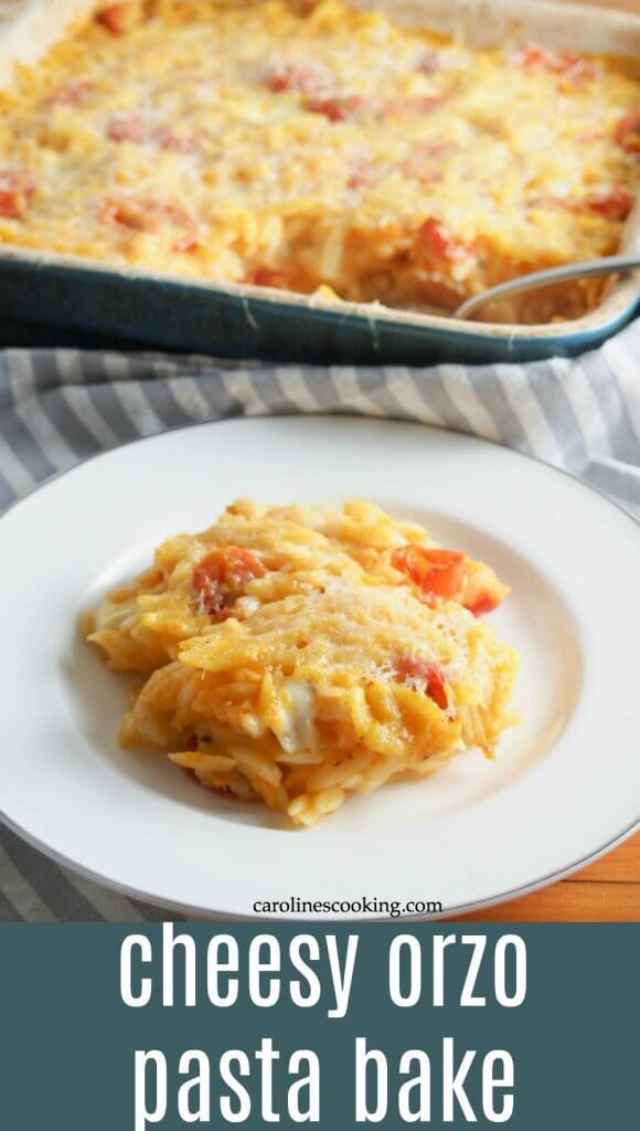 This cheesy orzo pasta bake is comfort food on a plate, with a slightly healthy twist. With lots of cheese and veggies, it's a great vegetarian meal. #vegetarian #pasta #comfortfood