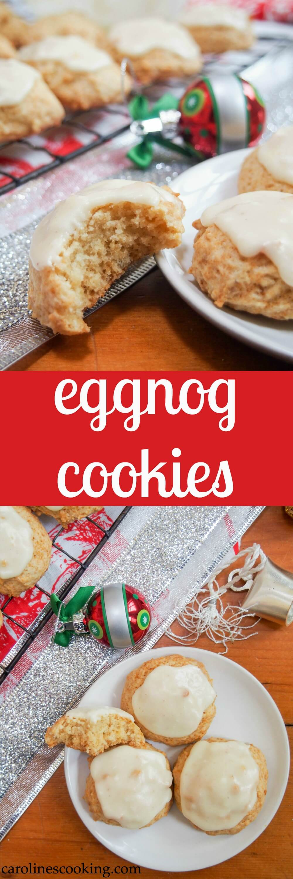 These delicious soft eggnog cookies are a true taste of the season. And you don't need to buy eggnog - this recipe starts from scratch but is easy to make too! #eggnog #cookies #christmascookies
