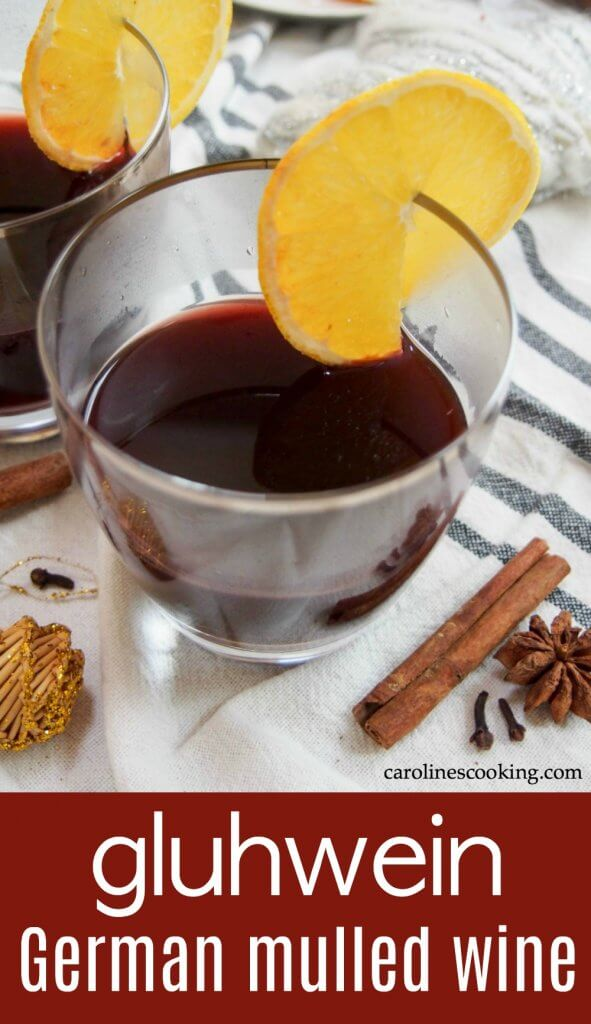 Gluhwein, German mulled wine, is a gently sweet, warmly spiced drink as found at German Christmas markets. It's perfect for sharing and to warm you up on a cold day. #mulledwine #cocktail #warmbeverage