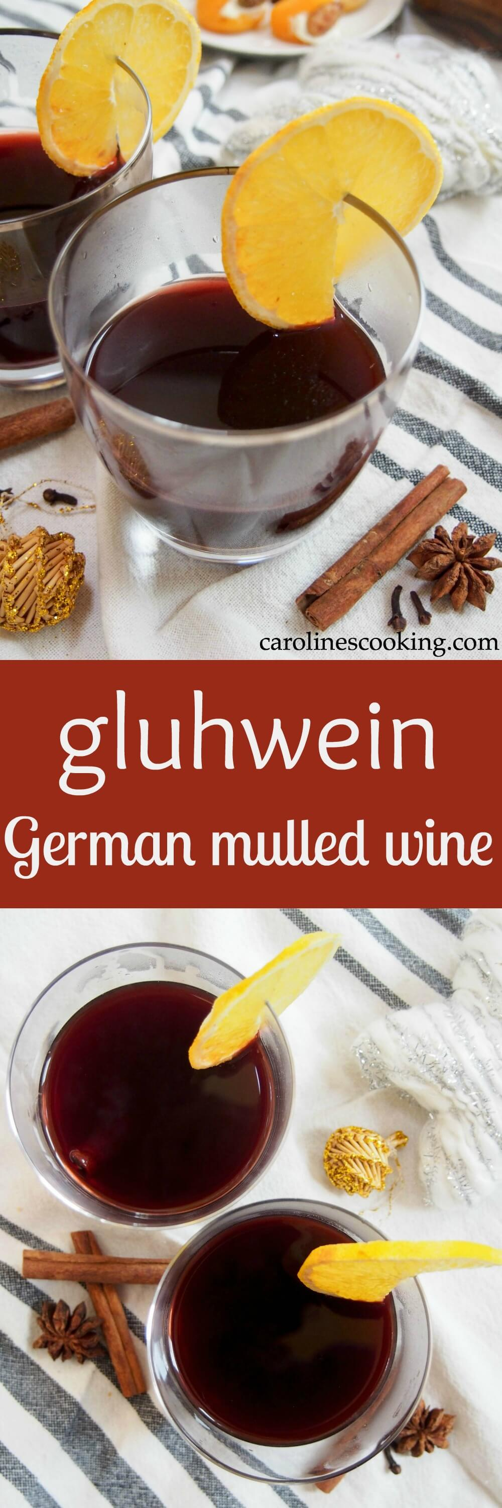 Gluhwein, German mulled wine, is a gently sweet, warmly spiced drink as found at Christmas markets. It's perfect for sharing and to warm you up on a cold day. #mulledwine #cocktail #warmbeverage