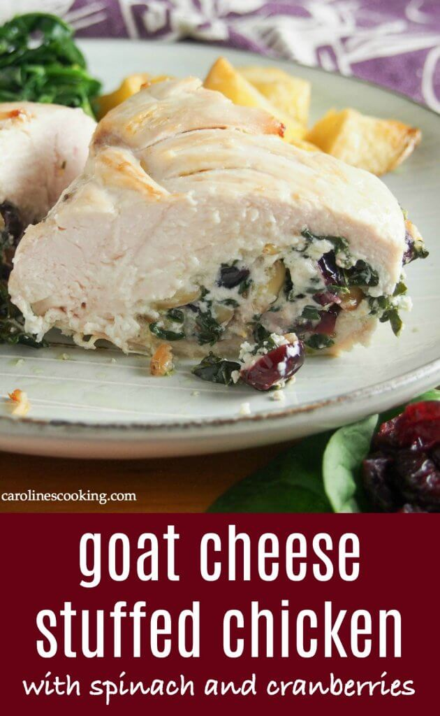 Transform a plain chicken breast into this deliciously flavorful and comforting goat cheese stuffed chicken. Elegant enough for a special occasion, but easy enough for any night. #goatcheesestuffedchicken #stuffedchicken #comfortfood
