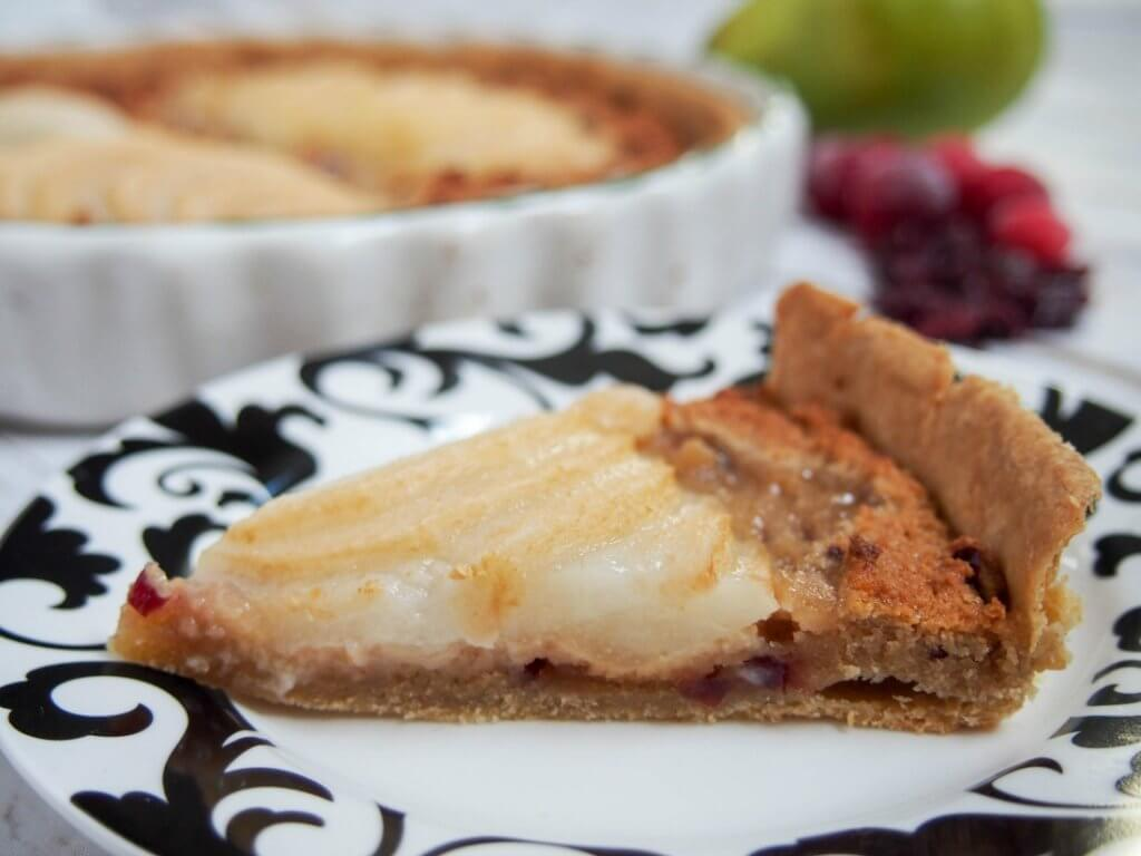 Pear frangipane tart with cranberries