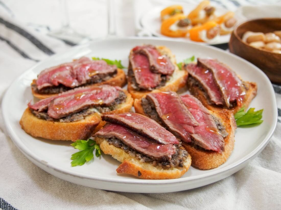 Steak crostini with mushroom pate and truffle oil - Caroline's Cooking
