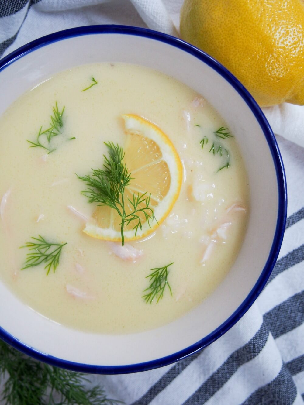 Avgolemono soup - Greek chicken and rice/orzo soup with lemon