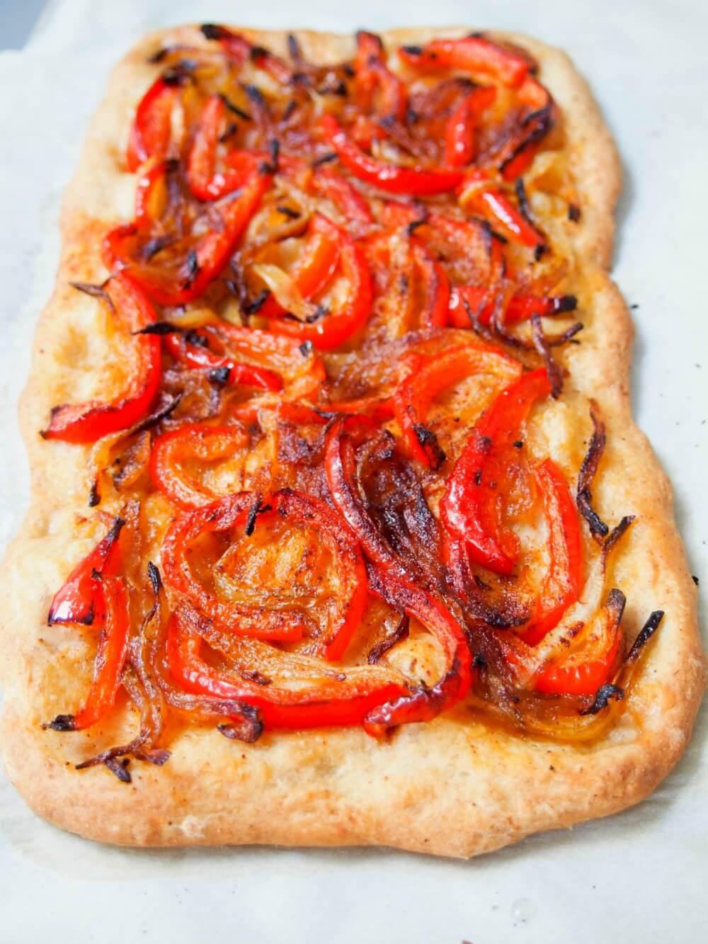 Catalan coca Spanish pizza full pizza