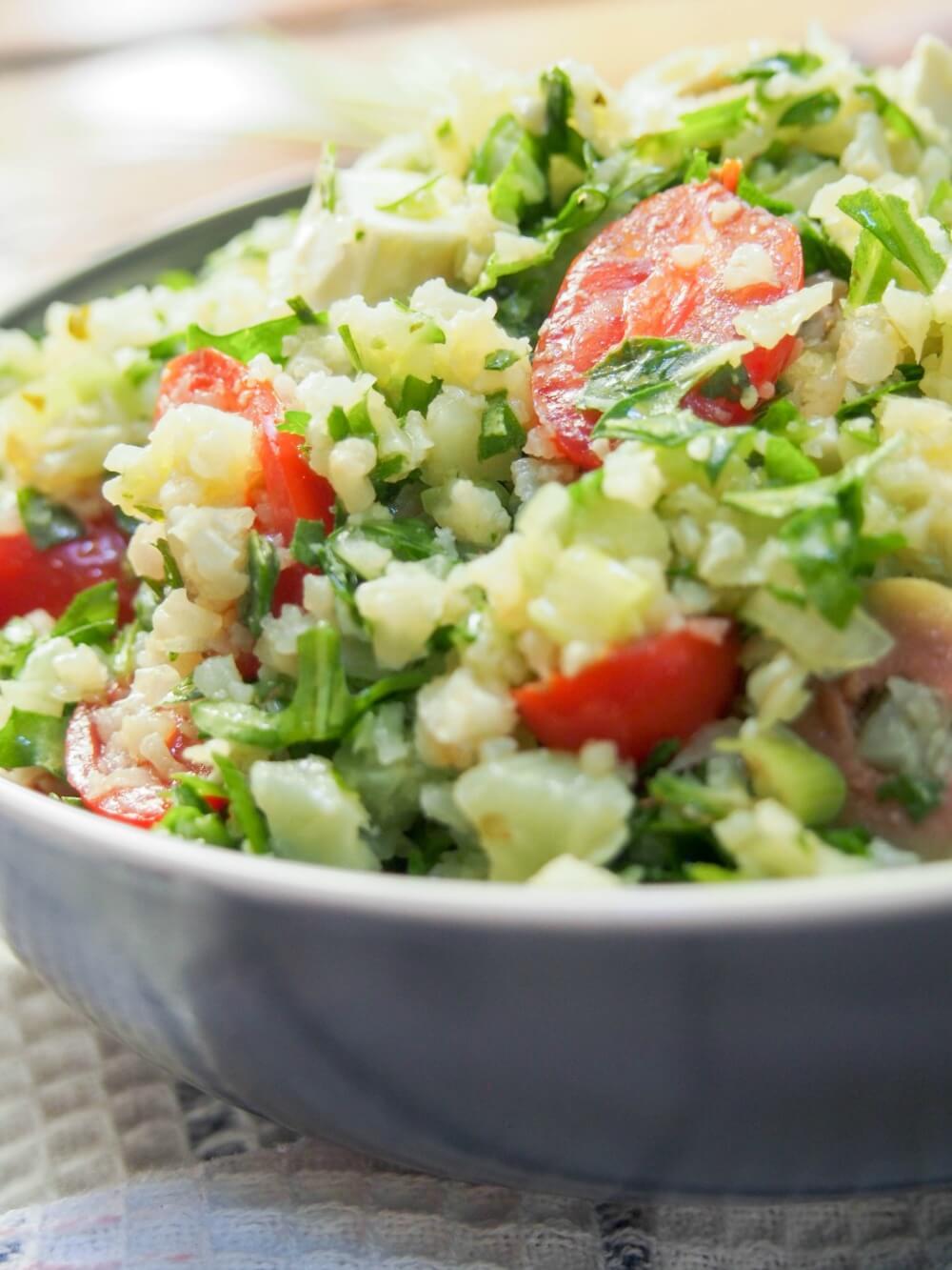 Greek-style cauliflower rice salad