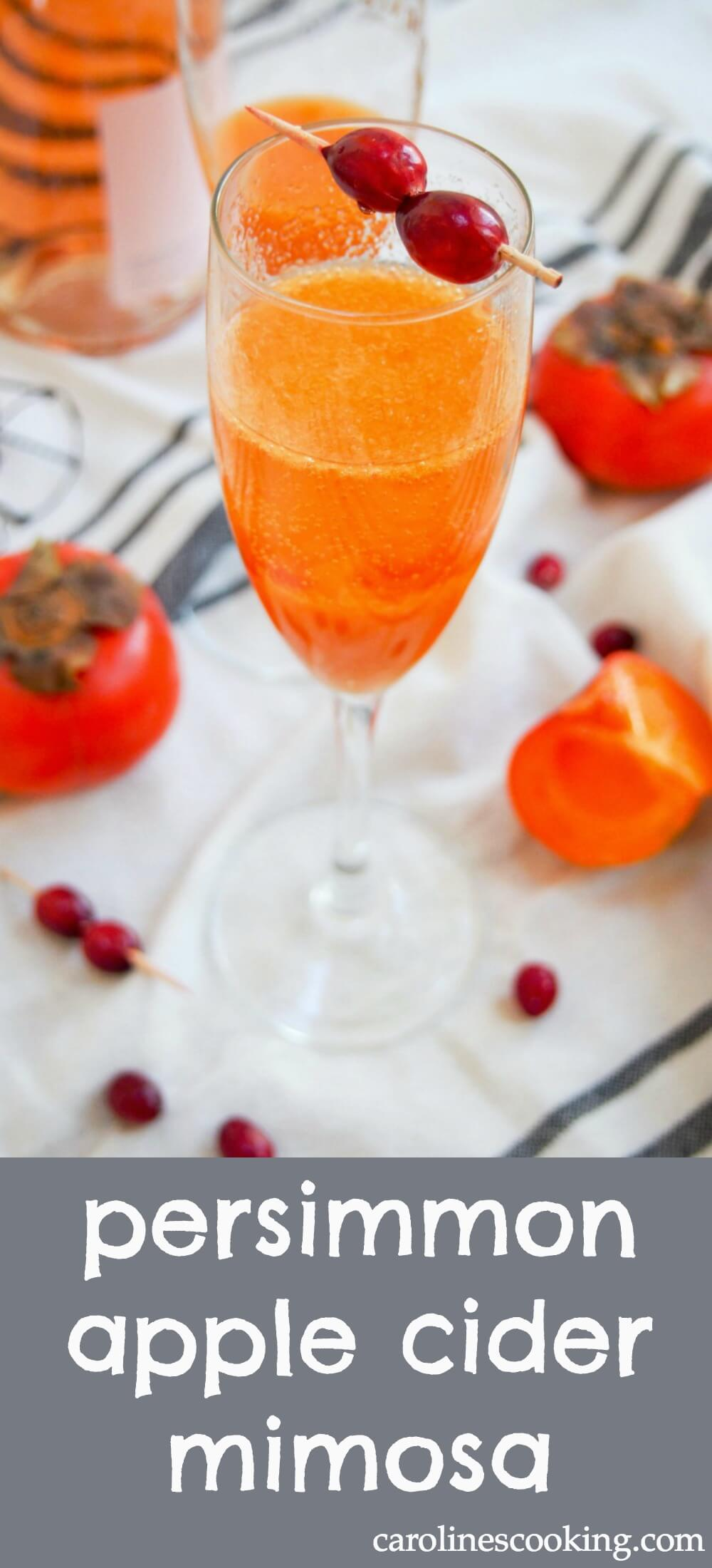 Only 3 ingredients, a couple minutes and you've got a beautiful, bubbling glass. This persimmon apple cider mimosa is a great seasonal cocktail. #cocktail #champagne
