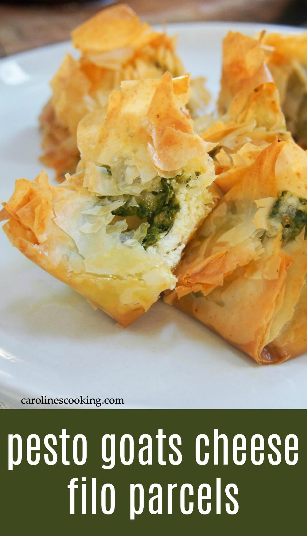 These pesto goats cheese filo parcels are a delicious little bite of goodness. Crisp, flaky pastry, smooth creamy goats cheese and the fabulous flavors of pesto. They're perfect for entertaining too. #filo #goatcheese #appetizer