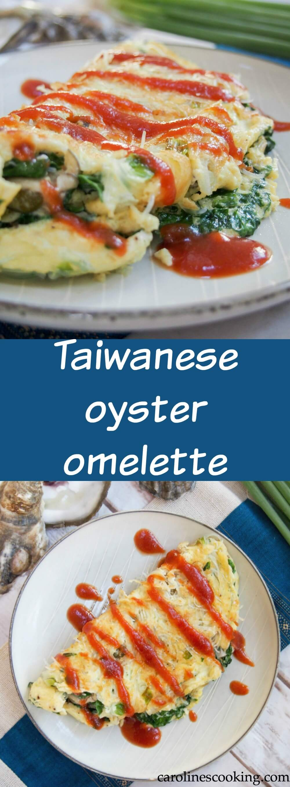 Taiwanese oyster omelette is a classic street food, but it also makes a delicious brunch/lunch - easy to make and with lots of great flavor, with oysters, greens and a flavorful sauce. #omelette #oysters #taiwanesefood