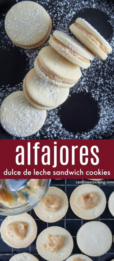 Alfajores (dulce de leche sandwich cookies) - Crumbly, tender cookies sandwiched together with dulce de leche - alfajores are the kind of cookies that almost anyone will be tempted by. Welcome to your next cookie plate must-have. These tasty treats are easy to make and great for gifting, too. #cookie #dulcedeleche