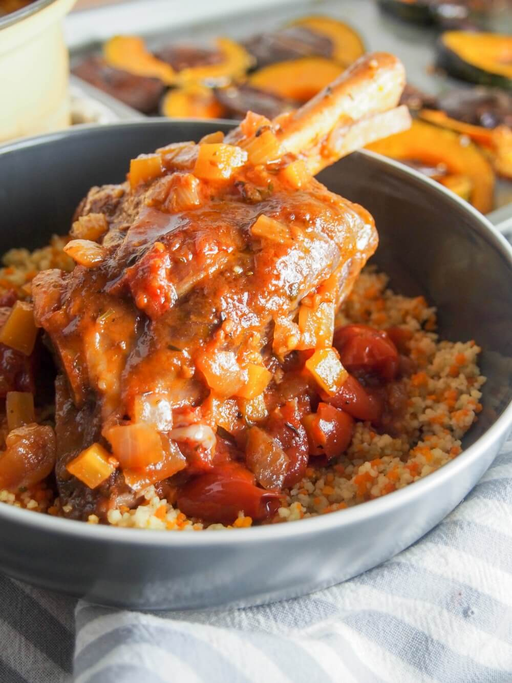 You need to be a little patient to enjoy these braised lamb shanks, but they're easy to prepare and so worth the wait. Rich, tender and delicious. The meat is tender and the sauce is so full of flavor. Comfort food at its best.