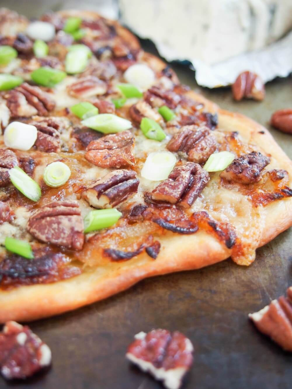 This caramelized onion and gorgonzola pizza is not exactly your typical slice, but if you're a gorgonzola and pecan fan, you're sure to love it. Comforting flavors, so delicious. Great as an appetizer or make it a meal.