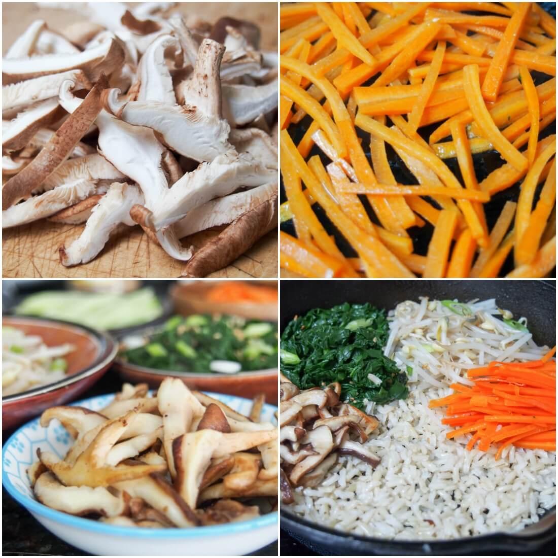 making vegetarian bibimbap - preparing vegetables and cooking in skillet