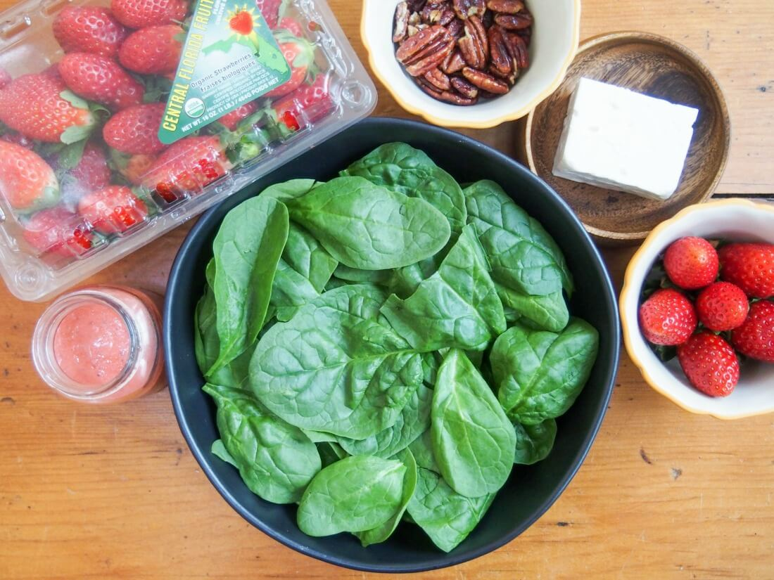 strawberry spinach feta salad ingredients