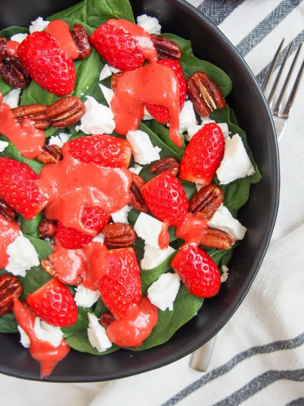 strawberry spinach feta salad