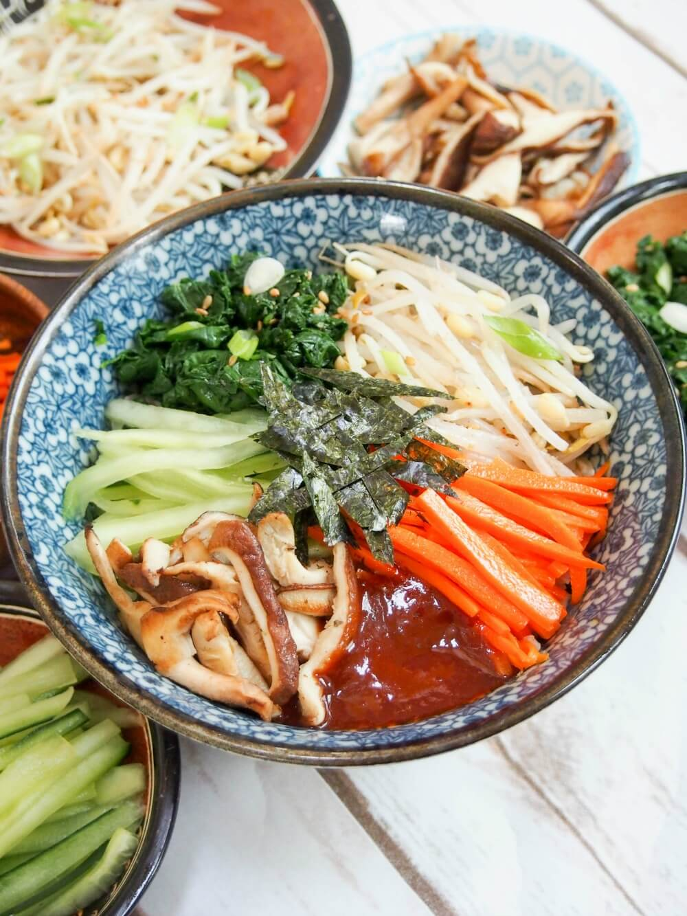 vegetarian bibimbap All too often, comfort food and healthy don't go together, but this vegetarian bibimbap is an exception. It's a delicious bowl of goodness, packed with a rainbow of vegetables and here made with brown rice. So tasty!