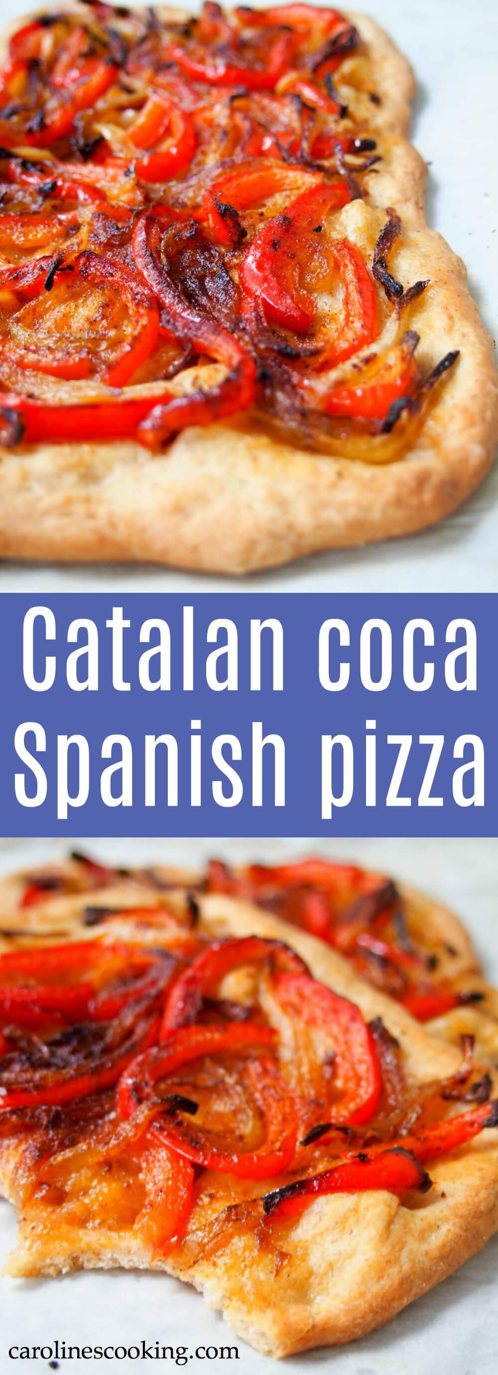 Catalan coca is a kind of a Spanish pizza or flatbread, but with some key differences - while toppings vary, most have no sauce and no cheese. But don't let that put you off, this is one delicious slice, and this simple pepper and onion version is a favorite. #Spanishfood #vegan #pizza
