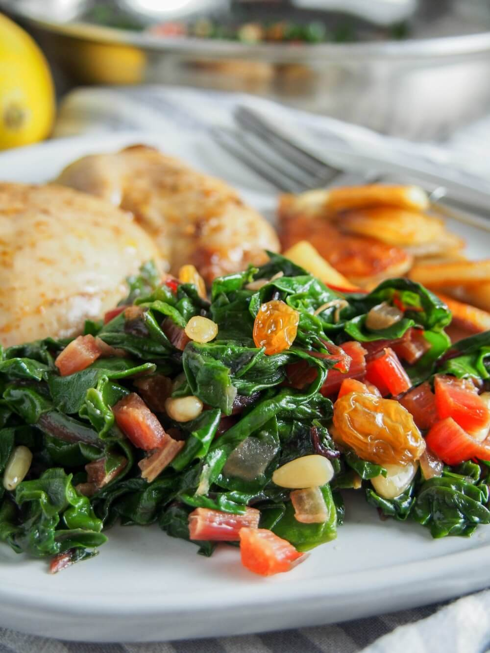 Catalan-style sauteed Swiss chard with raisins and pine nuts