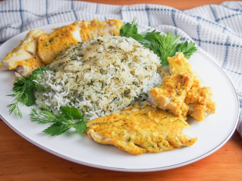 Persian herb rice with fish - sabzi polow mahi