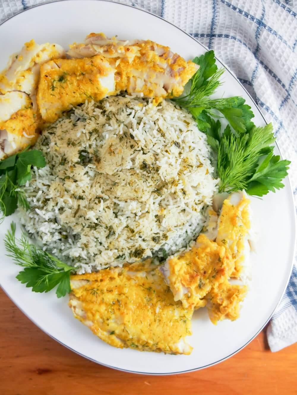 Persian herb rice with fish - sabzi polow mahi