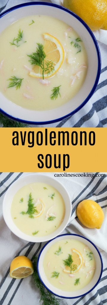 Avgolemono soup is the Greek answer to chicken noodle soup, but I've got to say - I think they win. Not only is it comfortingly warming, it has a lovely lemony undertone. Perfect for a cold day. #soup #Greekfood #chicken #lemon