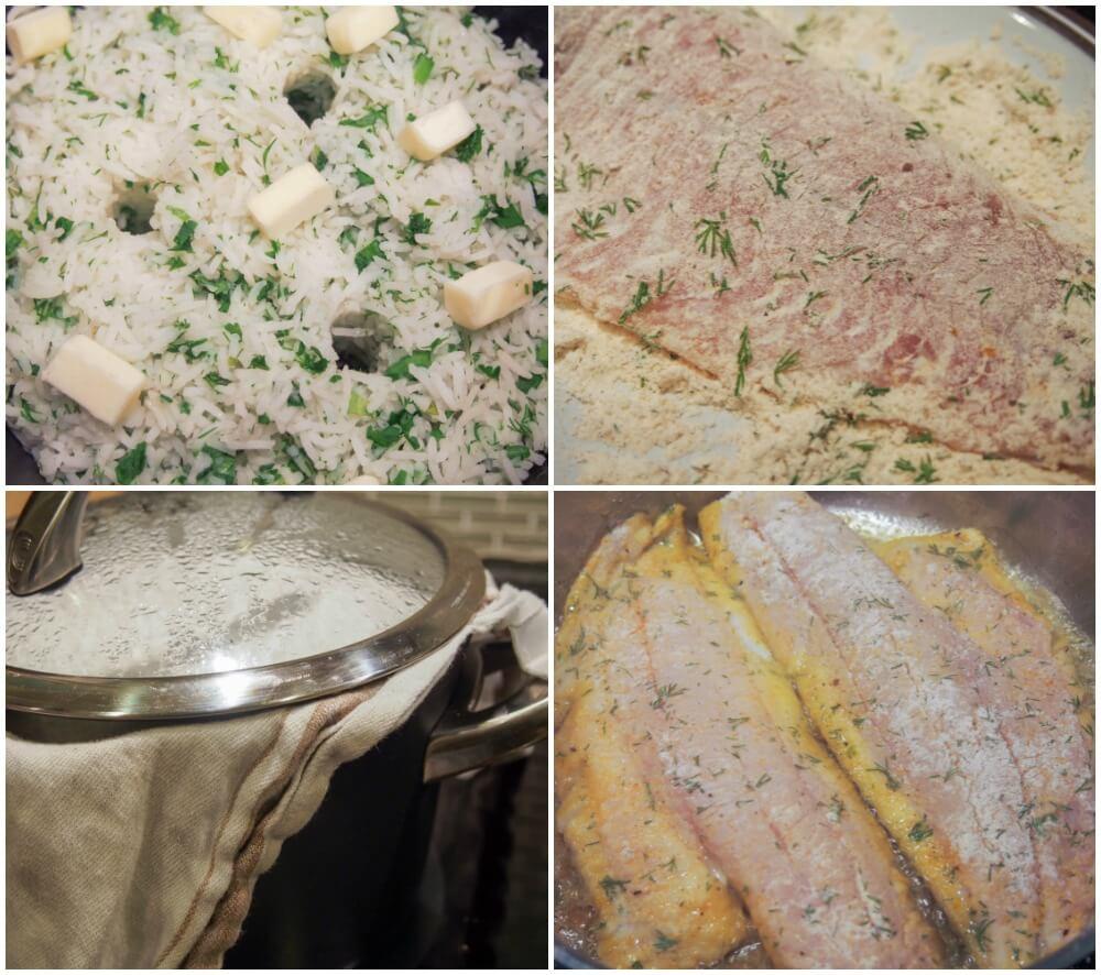 making Persian herb rice with fish - sabzi polow mahi