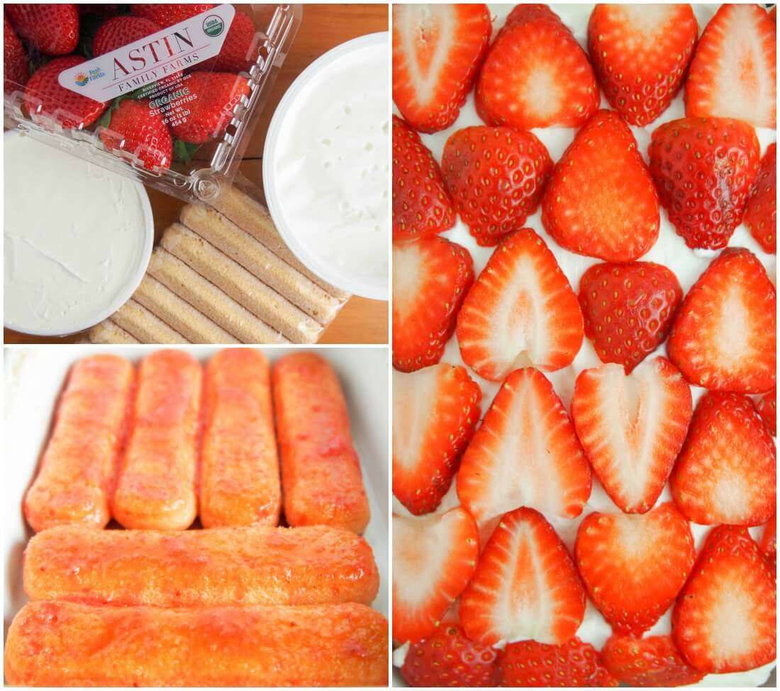 making strawberry tiramisu - ingredients, first layer of dipped ladyfinger cookies and layer of strawberries