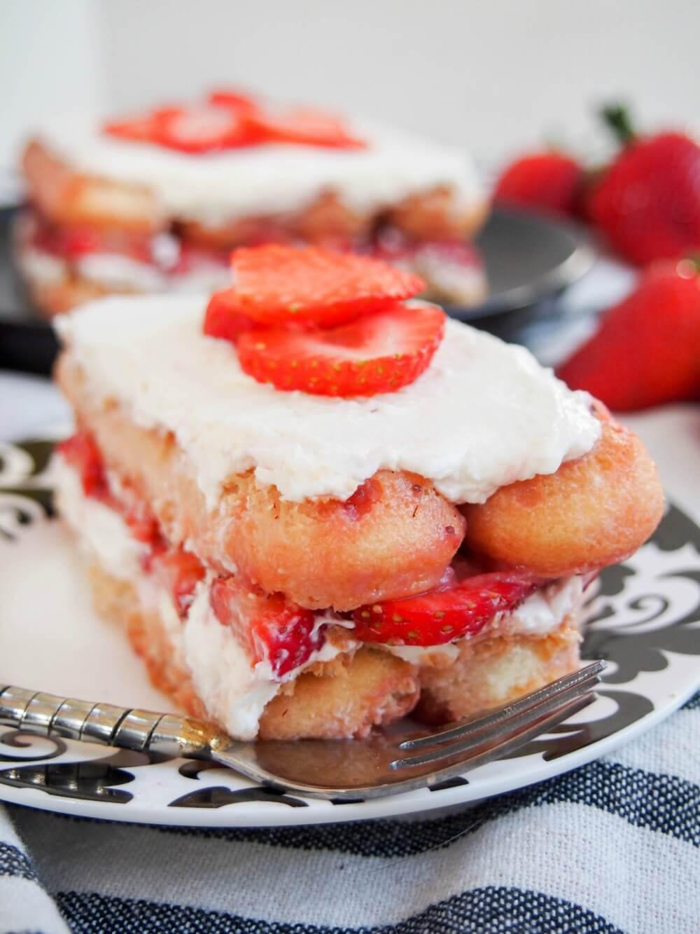 slice of strawberry tiramisu