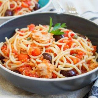 Bowl of pasta puttanesca